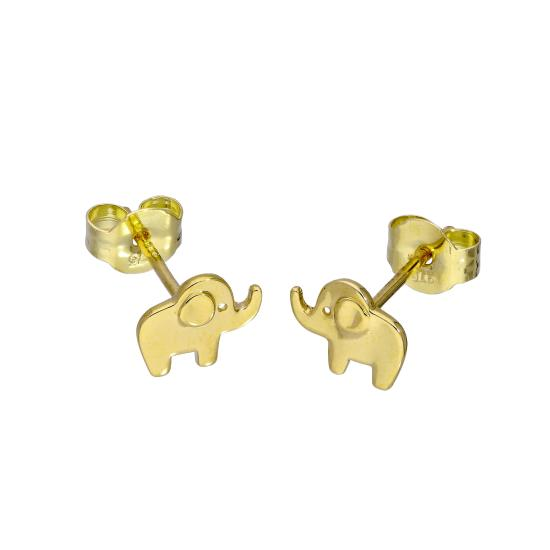 9ct Gold Cute Little Elephant Stud Earrings