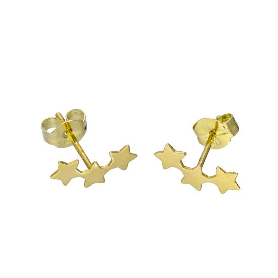9ct Gold Triple Star Stud Earrings