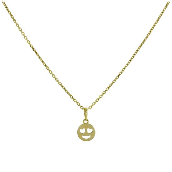 9ct Gold Heart Eyes Emoji Pendant Necklace 16 - 20 Inches