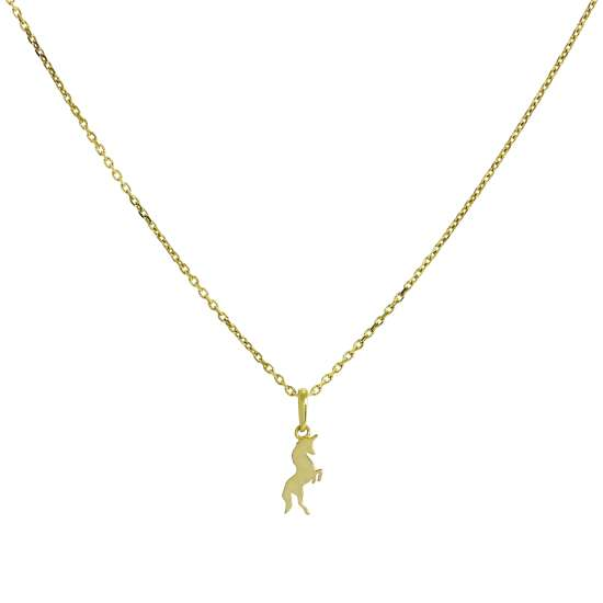 9ct Gold Unicorn Pendant Necklace 16 - 20 Inches