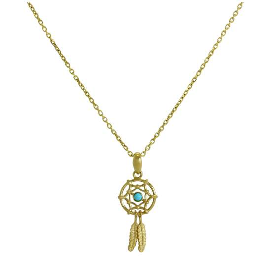 9ct Gold & Blue Enamel Dreamcatcher Pendant Necklace 16 - 20 Inches