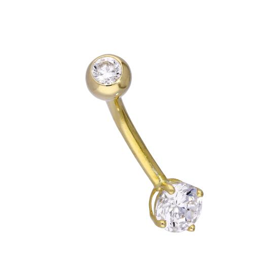 9ct Gold & 6mm Clear CZ Crystal 14Ga Belly Bar
