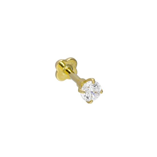 9ct Gold & Clear CZ Crystal 17Ga Labret