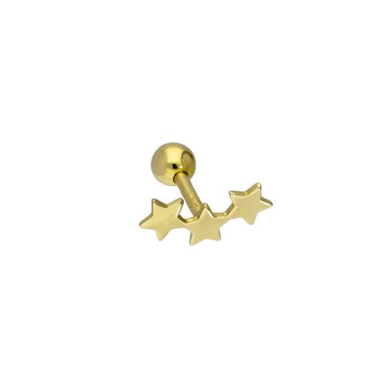 9ct Gold String of Stars 18Ga Labret