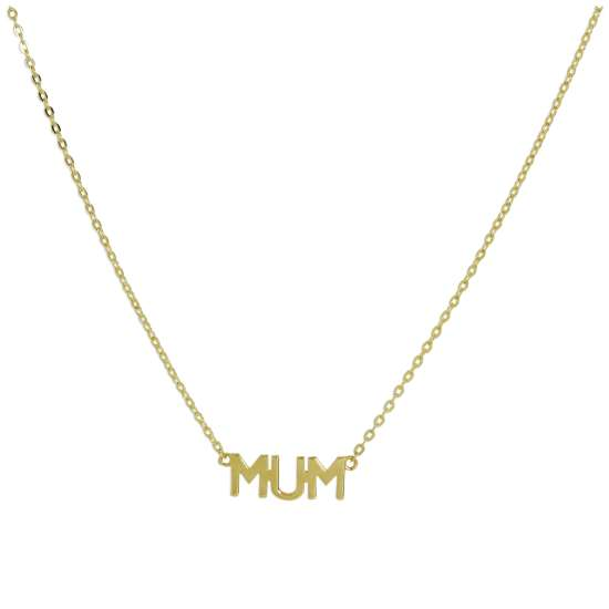 9ct Gold Mum Pendant with 16 Inch Chain