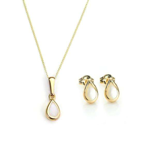 9ct Gold & June Birthstone Pendant & Stud Earrings Set