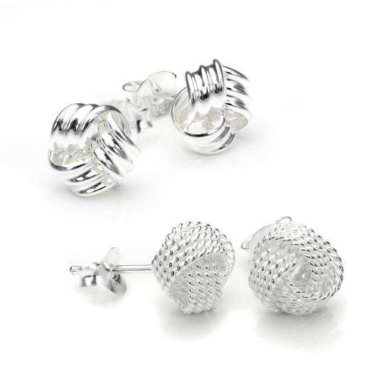 Sterling Silver 8mm Classic Knot Stud Earrings Set