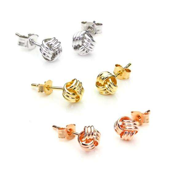 9ct Mixed Gold 5mm Classic Knot Stud Earrings Set