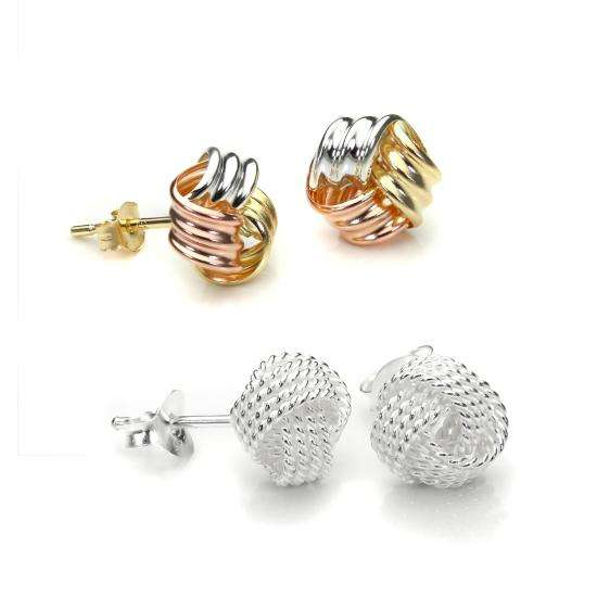 Sterling Silver & 9ct Gold Tricolour 8mm Knot Stud Earrings Set