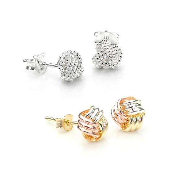 Sterling Silver & 9ct Gold Tricolour 6mm Knot Stud Earrings Set