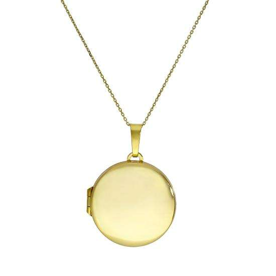 Large 9ct Gold Engravable Round Locket on Chain 16 - 20 Inches