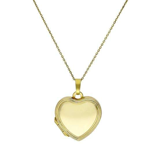 9ct Gold Engravable Heart Locket with Raised Border on Chain 16 - 20 Inches