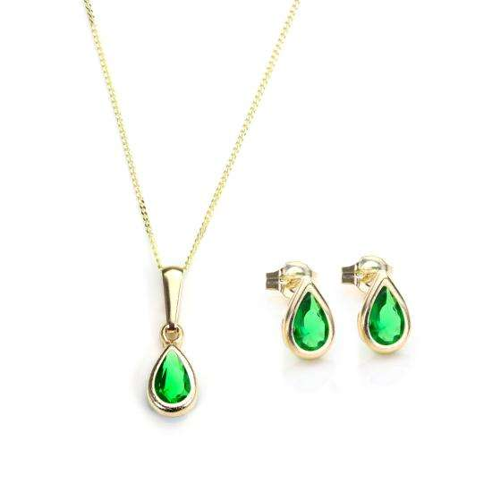 9ct Gold & May Birthstone Pendant & Stud Earrings Set
