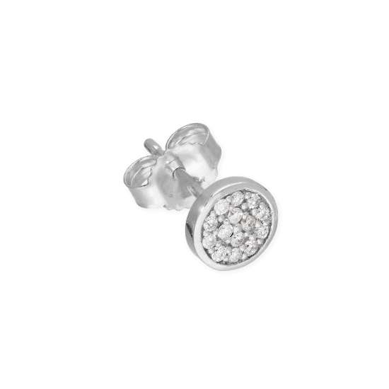 9ct White Gold 0.056ct Diamond Round Pave Single Stud Earring