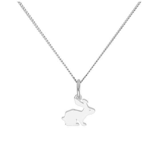 Sterling Silver Hare Pendant on 16+2 Inches Diamond Cut Chain