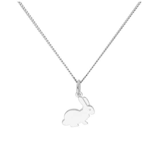 Sterling Silver Rabbit Pendant on 16+2 Inches Diamond Cut Chain