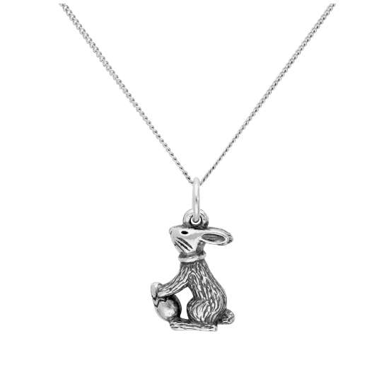 Sterling Silver Easter Bunny with Easter Egg Pendant on 16+2 Inches Diamond Cut Chain