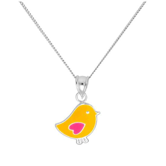 Sterling Silver Chick Pendant on 16+2 Inches Diamond Cut Chain