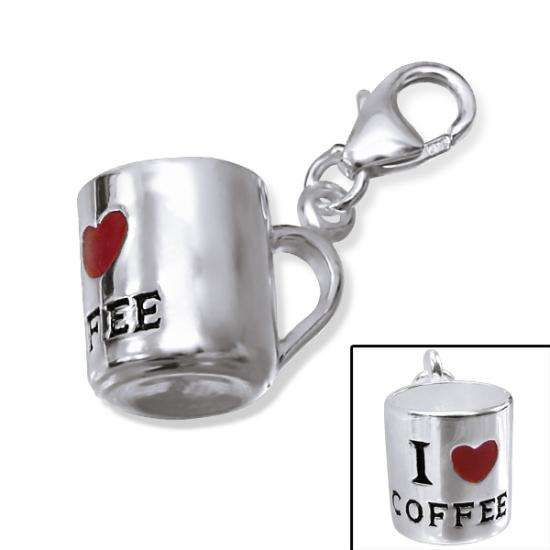 Sterling Silver 3D I Love Coffee Mug Clip on Charm