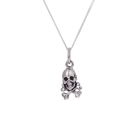 Tiny Sterling Silver Skull & Crossbones Necklace