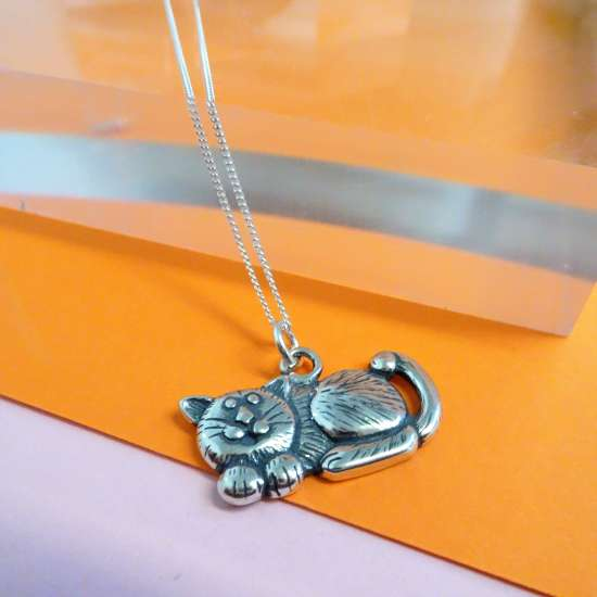 Sterling Silver Fat Cat Necklace