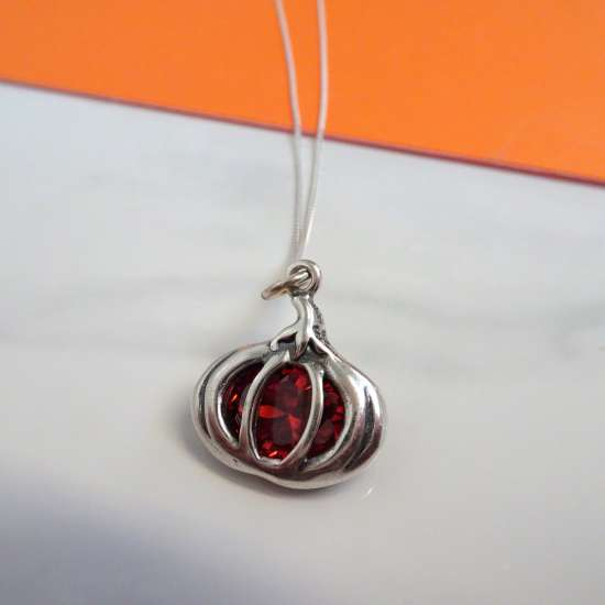 Sterling Silver Crystal Pumpkin Necklace