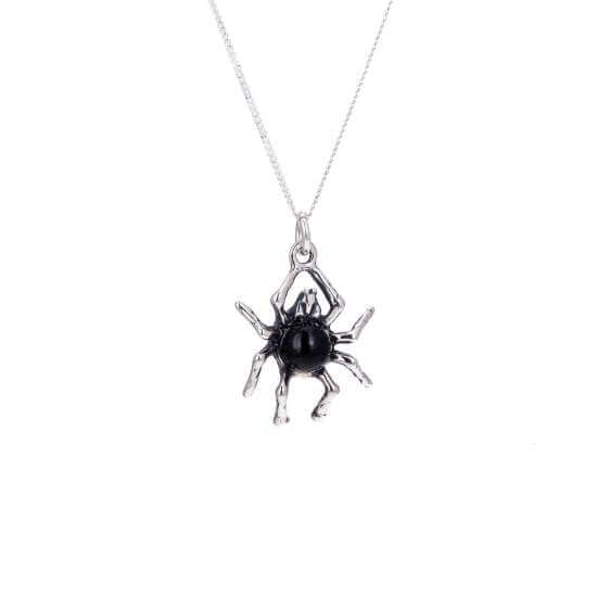 Sterling Silver Spider W/ Black Crystal Body Necklace
