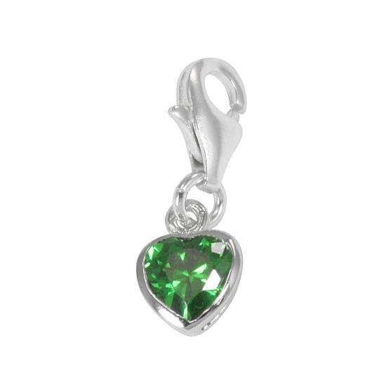 Sterling Silver Emerald Green Heart Crystal Clip on Charm