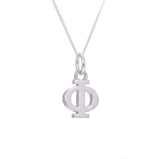 Sterling Silver Phi Greek Alphabet Necklace