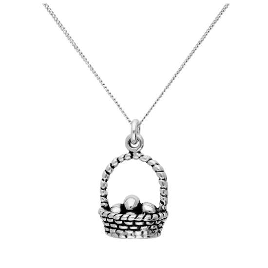 Sterling Silver Eggs in Basket Pendant on 16+2 Inches Diamond Cut Chain