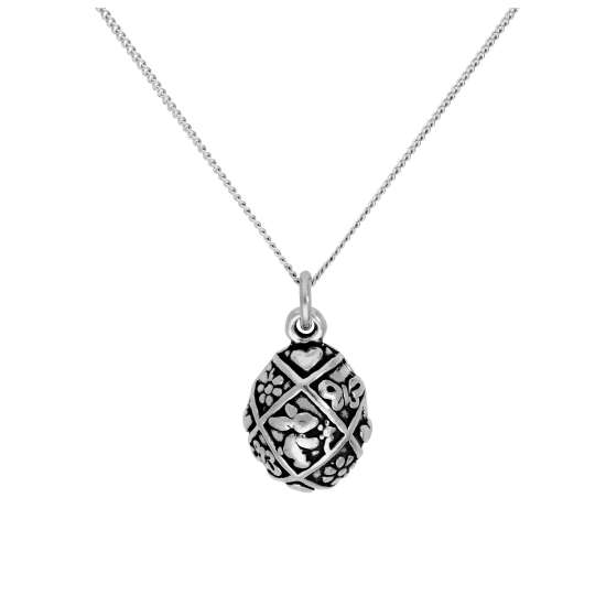 Sterling Silver Easter Egg Pendant on 16+2 Inches Diamond Cut Chain