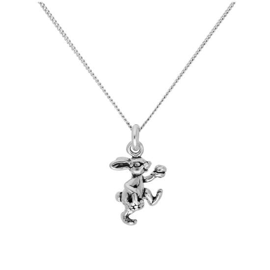 Sterling Silver Easter Bunny Pendant on 16+2 Inches Diamond Cut Chain
