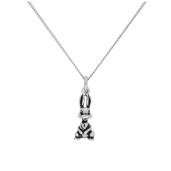 Sterling Silver Bunny Rabbit Pendant on 16+2 Inches Diamond Cut Chain