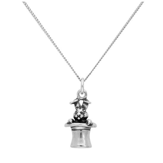 Sterling Silver Magic Rabbit in Hat Pendant on 16+2 Inches Diamond Cut Chain