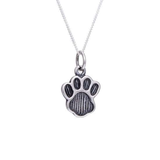 Large Sterling Silver Animal Pawprint Necklace