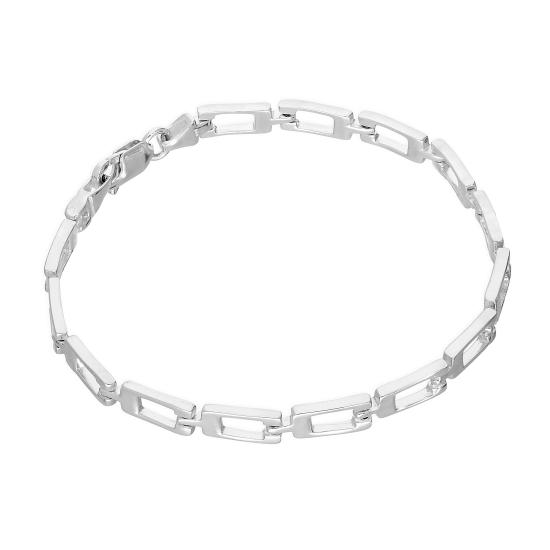 Sterling Silver Rectangular Links Geometric 7.5 Inch Bracelet