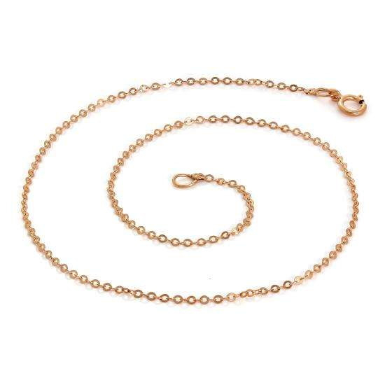 9ct Rose Gold Hammered Trace Anklet 9.5 Inches