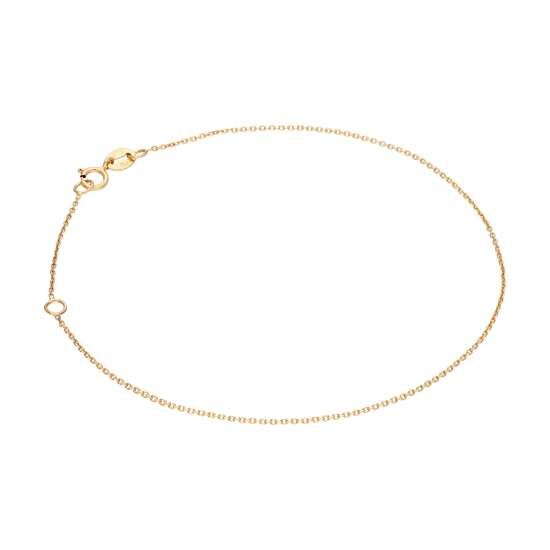 9ct Gold Faceted Trace Chain Bracelet 7 - 8 Inches