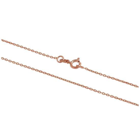 9ct Rose Gold Faceted Trace Chain Anklet 9 - 10.5 Inches