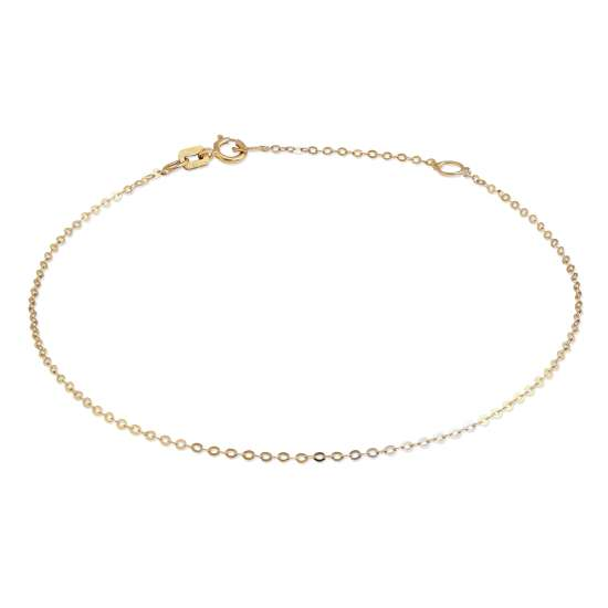 9ct Gold Hammered Trace Chain Bracelet 7 - 8 Inches