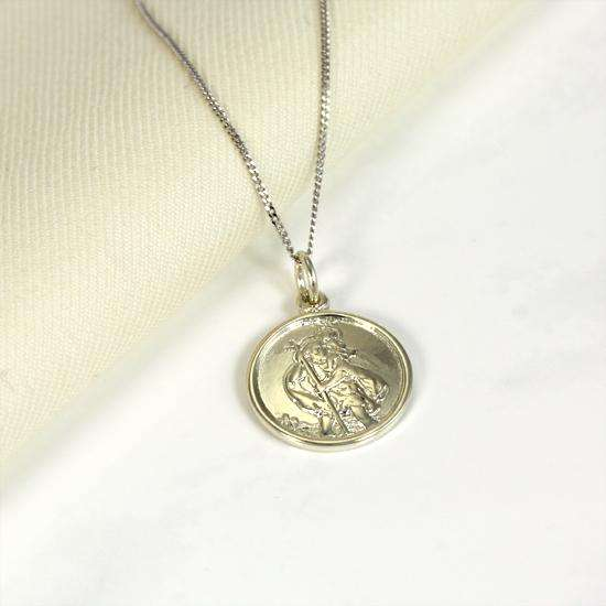 Personalised 9ct White Gold St Christopher Necklace