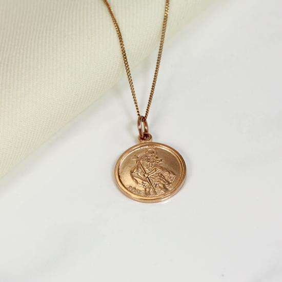 Personalised 9ct Rose Gold St Christopher Necklace