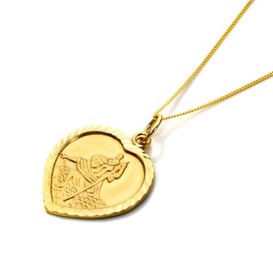 Personalised 9ct Gold St Christopher Heart Necklace - 16 - 18 Inches