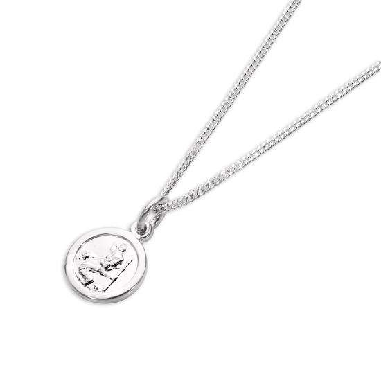 Sterling Silver Tiny Round Saint Christopher Pendant