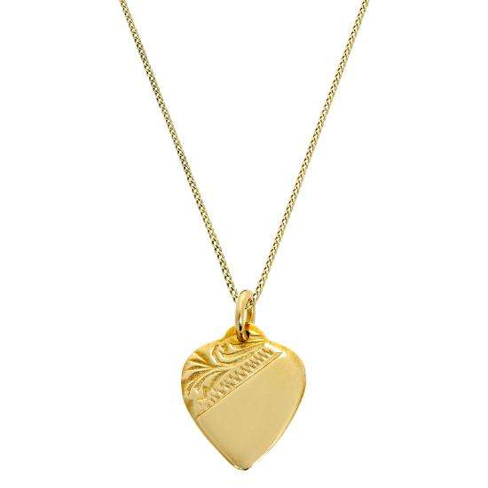 9ct Gold Engraved Heart Pendant Necklace 16 - 20 Inches