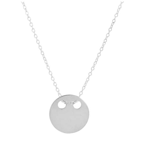 Sterling Silver Engravable Flat Circle Pendant Necklace 14 - 22 Inches