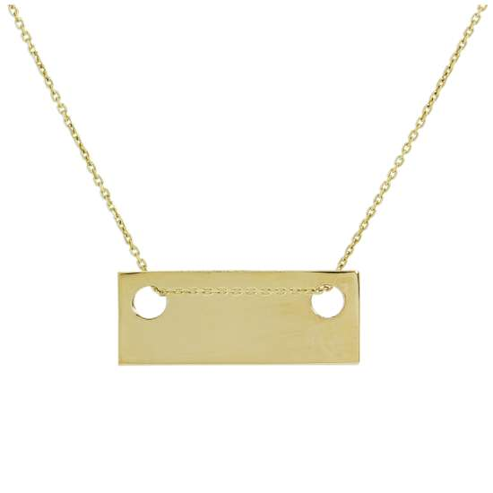 9ct Gold Engravable Flat Rectangle Pendant Necklace 16 - 20 Inches