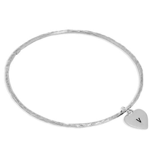 Sterling Silver Hammered Bangle with Hand Stamped Heart Charm