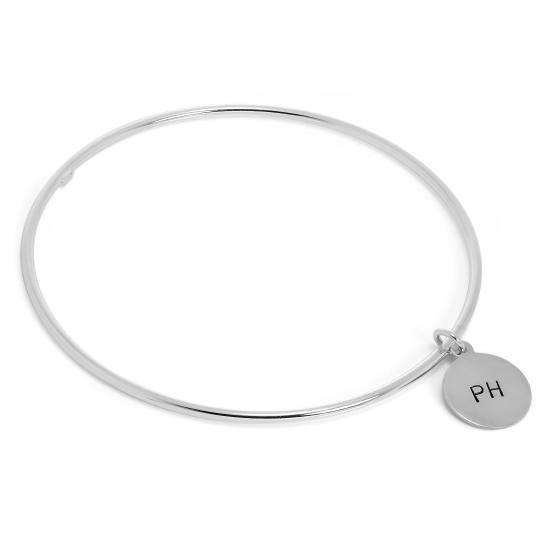 Sterling Silver Polished Bangle with Hand Stamped Disc Charm