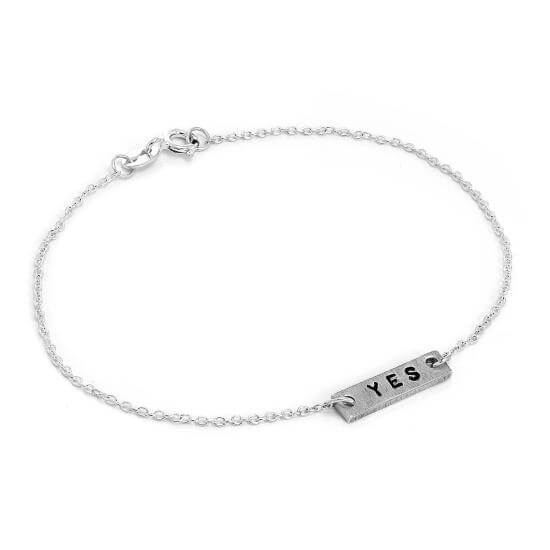 Personalised Sterling Silver Hand Stamped Bar Bracelet Anklet